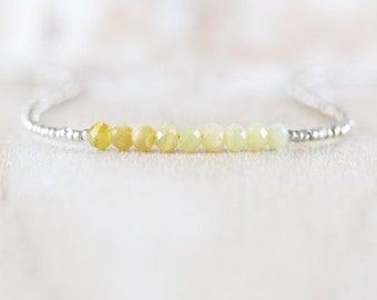 Yellow Peruvian Opal, Seed Bead & Sterling Silver Necklace. Dainty Tiny Ombre Gemstone Choker. Simple Delicate Layering Jewelry for Women