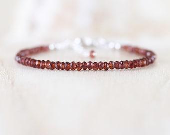 Dainty Garnet Beaded Bracelet in Sterling Silver, Rose or Gold Filled. Red Gemstone Stacking Bracelet. Delicate Jewelry. Stackable Jewellery
