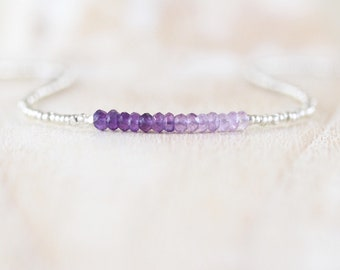 Ombre Amethyst, Seed Bead & Sterling Silver Necklace. Delicate Purple Gemstone Choker. Dainty Tiny Beaded Simple Layering Jewelry for Women