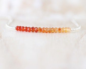Carnelian, Seed Bead & Sterling Silver Necklace. Simple Delicate Choker. AAA Ombre Gemstone Necklace for Women. Dainty Tiny Beaded Jewelry