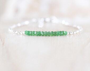 Tsavorite Garnet, Sterling & Fine Silver Bracelet. Dainty Green Gemstone Slim Stacking Bracelet. Women's Delicate Jewelry. Karen Hill Tribe
