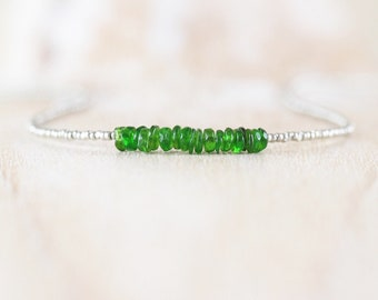 Green Tourmaline, Seed Bead & Sterling Silver Necklace. Dainty Gemstone Choker. Delicate Tiny Beaded Layering Necklace. Jewelry for Women