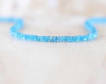 Blue Apatite Delicate Beaded Necklace in Sterling Silver, Gold or Rose Gold Filled. Dainty Gemstone Choker. Long Layering Necklace for Women