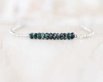 Emerald, Seed Bead & Sterling Silver Necklace. Dainty Tiny Beaded Choker. Long Layering Necklace for Women. Delicate Raw Gemstone Jewelry