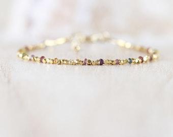 Tundra Sapphire, Gold Filled & Vermeil Bracelet. Dainty Tiny Beaded Jewelry for Women. Delicate Multi Gemstone Slim Skinny Stacking Bracelet