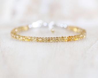 Citrine Dainty Beaded Bracelet. Sterling Silver, Rose, Gold Filled. Thin Slim Stacking Bracelet. Delicate AAA Gemstone Jewelry for Women