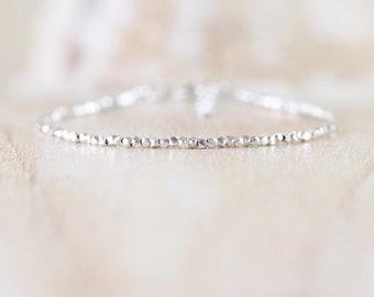 Sterling & Fine Silver Dainty Bracelet. Thin Slim Stacking Bracelet. Delicate Tiny Beaded Minimalist Jewelry for Women. Karen Hill Tribe