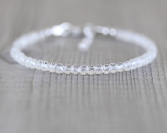 White Topaz Dainty Bracelet. Sterling Silver, Rose, Gold Filled. Slim Stacking Bracelet for Women. Delicate Clear Gemstone Layering Jewelry