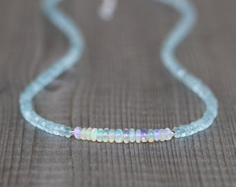 Aquamarine & Ethiopian Welo Opal Necklace in Sterling Silver, Gold or Rose Gold Filled. Custom Length Short Choker or Long Layering Necklace