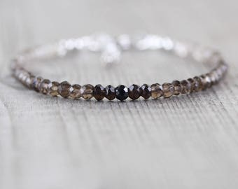 Natural Smokey Quartz Bracelet. Sterling Silver, Gold or Rose Gold Filled. Dainty Topaz Stacking Bracelet. Ombre Gemstone Jewelry for Women