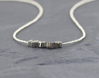 Pyrite, Czech Seed Bead & Sterling Silver Necklace. Delicate Heishi Square Gemstone Choker. Dainty Tiny Beaded Layering Jewelry for Women