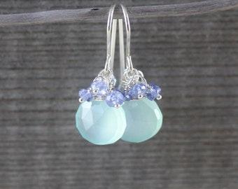 Aqua Chalcedony, Tanzanite & Sterling Silver Cluster Earrings, AAA Semi Precious Gemstones, Fine Jewelry for Women