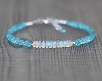 Aqua Apatite & Ethiopian Welo Opal Bracelet. Sterling Silver, Rose, Gold Filled. Dainty Gemstone Stacking Bracelet for Women. Beaded Jewelry