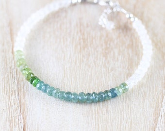 Blue Tourmaline & Rainbow Moonstone Bracelet. Sterling Silver, Rose, Gold Filled. Ombre Green Gemstone Dainty Stacking Bracelet for Women