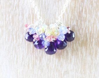 Amethyst & Sterling Silver Multi Gemstone Cluster Necklace. Tanzanite, Pink Tourmaline, Ethiopian Welo Opal Beaded Pendant. Womans Jewelry