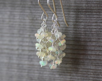 Ethiopian Welo Opal & Sterling Silver Cluster Earrings. Beaded Gemstone Cascade Earrings. Long Waterfall Dangle Earrings. Jewelry for Women