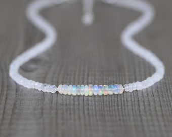 Ethiopian Welo Opal & Rainbow Moonstone Necklace. Sterling Silver, Rose, Gold Filled. Dainty Beaded Choker. Long Layering Necklace for Women