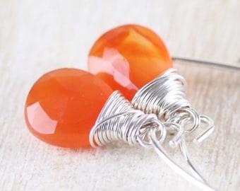 Carnelian & Sterling Silver Wire Wrapped Drop Earrings on Long Marquise, Short Hook or Lever Back Ear Wires, Orange Gemstone Jewelry