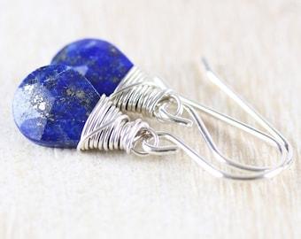 Lapis Lazuli & Sterling Silver Earrings. Blue AAA Gemstone Drop Earrings. Wire Wrapped Dangle Earrings for Women. Lever Back or French Hooks