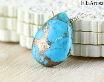 Copper Turquoise Pendant, Bar Necklace in Sterling Silver, Gold or Rose Gold Filled, Blue Semi Precious Gemstone Boho Jewelry for Women