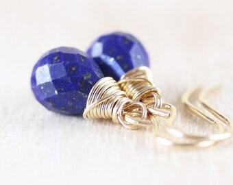 Lapis Lazuli & 18Kt Gold Filled Teardrop Earrings. AAA Gemstone Dainty Drop Earrings. Small Dangle Earrings. Wire Wrapped Jewelry for Women