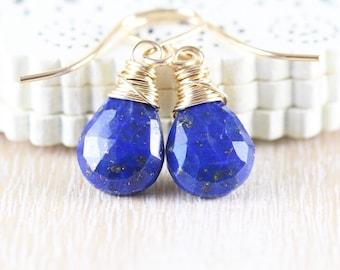 Lapis Lazuli & 18Kt Gold Filled Earrings. Navy Blue AAA Gemstone Drop Earrings. Small Dangle Earrings. Wire Wrapped Boho Jewelry for Women