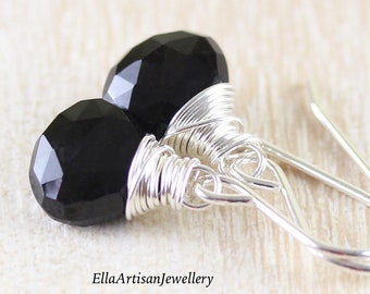 Black Tourmaline Drop Earrings in Sterling Silver, 14Kt Gold or Rose Gold Filled. Dainty Wire Wrapped Gemstone Dangle Earrings for Women