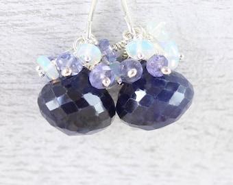 Sapphire, Tanzanite, Ethiopian Welo Opal & Sterling Silver Cluster Earrings. Dainty Beaded Drop Earrings. Small Dangle Earrings for Women