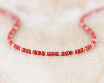 Natural Italian Red Coral Necklace. Sterling Silver, Rose, Gold Filled. Delicate Choker. Genuine Red Orange Coral Layering Jewelry for Women