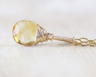 Natural Citrine & 18Kt Gold Filled Pendant. Wire Wrapped Necklace Charm. Genuine AAA Gemstone Jewelry. November Birthstone Gift for Women