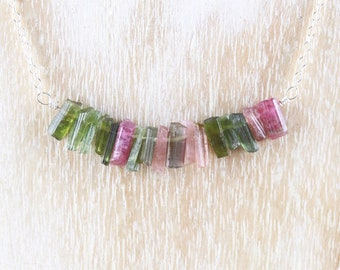 Raw Watermelon Tourmaline Bar Necklace in Sterling Silver, 18Kt Gold or Rose Gold Filled. Pink & Green Rough Uncut Gemstone Choker for Women