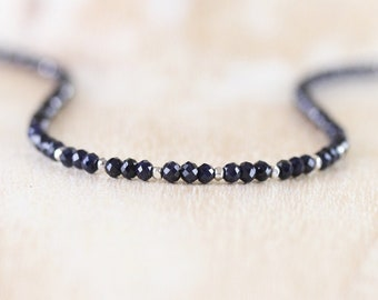 Deep Blue Sapphire Beaded Necklace. Sterling Silver, Rose, Gold Filled. Dainty Gemstone Choker. Long Delicate Layering Necklace for Women