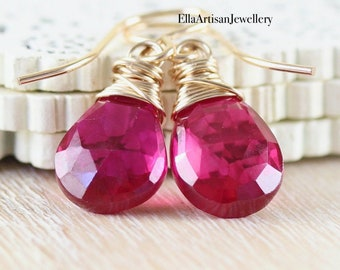 Ruby & 14Kt Gold Filled Drop Earrings. Genuine Ruby Wire Wrapped Dangle Earrings. 40th Wedding Anniversary Gift for Her. Jewelry for Women