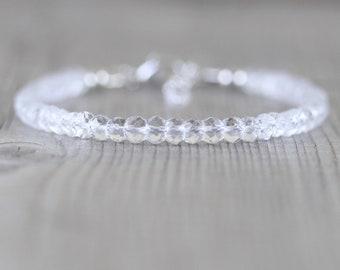 Rock Crystal Clear Quartz Beaded Bracelet in Sterling Silver, Gold or Rose Gold Filled. Dainty Gemstone Stacking Bracelet. Jewelry for Women