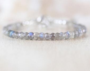 Labradorite Beaded Dainty Bracelet in Sterling Silver, Gold or Rose Gold Filled. Delicate Blue Flash Gemstone Stacking Bracelet for Women