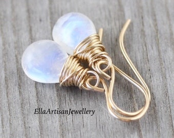 Rainbow Moonstone & 14Kt Gold Filled Earrings, AAA Blue Flash Gemstone Small Dangly Earrings, Gift for Her, Delicate Fine Jewelry for Women