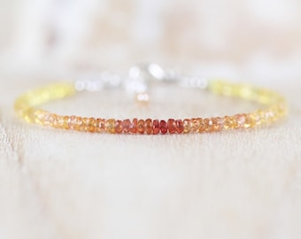 Padparadascha Sapphire Dainty Bracelet in Sterling Silver, Gold or Rose Gold Filled. Ombre Yellow & Orange Gemstone Stack Bracelet for Women