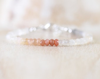 Multi Color Moonstone Bracelet in Sterling Silver, Gold or Rose Gold Fill. Peach Grey & White Dainty Ombre Gemstone Stack Bracelet for Women