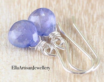 Tanzanite Earrings in Sterling Silver, Gold or Rose Gold Filled, Light Lilac Purple Semi Precious Gemstone, Dainty Minimal Jewelry for Women