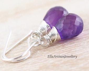Amethyst Teardrop Earrings in 925 Sterling Silver, 14Kt Gold or Rose Gold Filled, Deep Dark Purple AAAA Gemstone, Wire Wrapped Jewelry