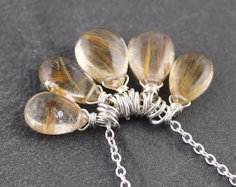 Golden Rutilated Quartz & Sterling Silver Necklace. Cluster Pendant. Wire Wrapped Gemstone Charm Necklace. Boho Layering Jewelry for Women