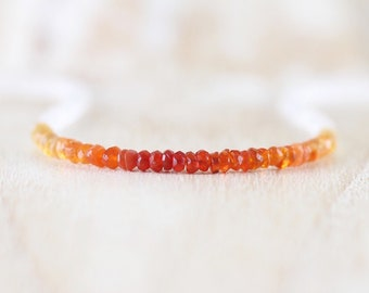Mexican Fire Opal & Rainbow Moonstone Necklace. Dainty Beaded Choker. Sterling Silver, Rose, Gold Filled. Women's Delicate Layering Jewelry