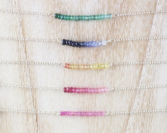 Precious Gemstone Bar Necklace. Dainty Choker. Sterling Silver, Rose, Gold Filled. Emerald, Ruby, Blue, Yellow Padparadascha & Pink Sapphire