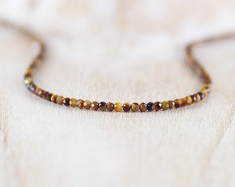 Tigers Eye Delicate Beaded Necklace in Sterling Silver, Gold or Rose Gold Filled. Dainty Gemstone Choker. Long Layering Necklace for Women