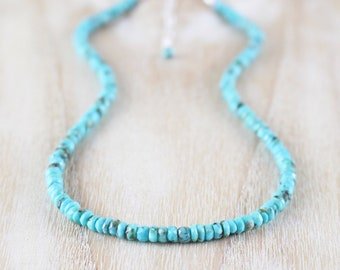 Sleeping Beauty Turquoise Necklace. Sterling Silver, Rose, Gold Filled. Genuine Arizona Turquoise Beaded Choker, Long Layering Necklace