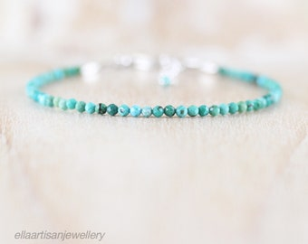 Tibetan Turquoise Dainty Bracelet in Sterling Silver, Gold or Rose Gold Filled. Delicate Tiny Beaded Gemstone Stacking Bracelet for Women
