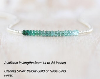 Emerald, Czech Seed Bead & Sterling Silver Necklace. Dainty Tiny Beaded Choker. Ombre Gemstone Layering Necklace for Women. Delicate Jewelry