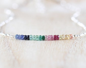 Emerald, Ruby, Sapphire, Sterling & Fine Silver Necklace, Dainty Tiny Multi Color Ombre Gemstone Choker. Delicate Layering Jewelry for Women