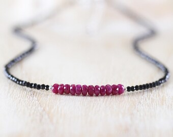 Ruby & Black Spinel Delicate Necklace. Sterling Silver, Rose, Gold Filled. Dainty Tiny Gemstone Choker. Beaded Layering Jewelry for Women
