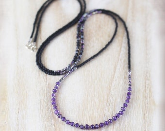 Amethyst, Black Spinel, Miyuki Seed Bead & Sterling Silver Necklace. Dainty Tiny Gemstone Wrap Bracelet. Long Delicate Layering Necklace